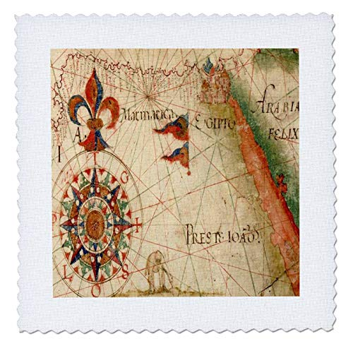 (3dRose lens Art by Florene - Nautical Maps - Image of Ancient Arabia Nautical Map With Compass And Fleur De Lis - 18x18 inch quilt square)