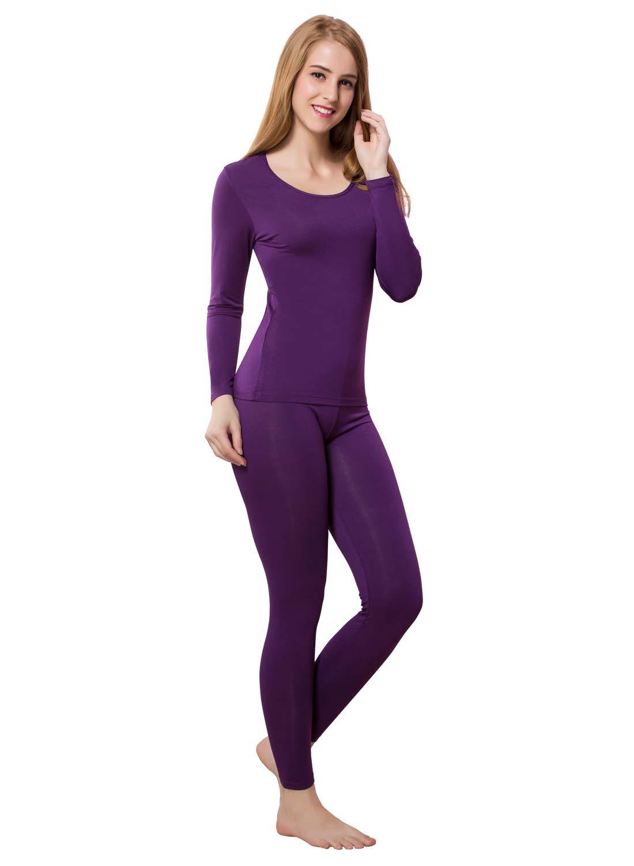 Long Set Thermal Underwear Keep Warm Constant Temperature Clothing Suit Modal Union Suit Purple L