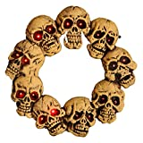 Halloween Skulls Wreath 46x46x5CM Spook Light Up Skull Door Wreath Halloween