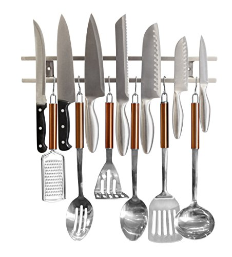 Magnetic Knife Holder From Cook A Lot   Includes Multiple Hooks For Added Storage  Easy To Install Tool Rack For Metal Knives  Utensils And Kitchen Sets  Strong And Reliable  Save Kitchen Space Now