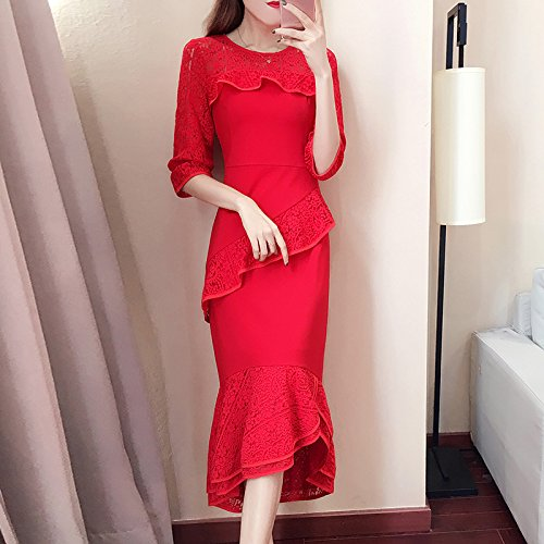 ZHUDJ Un Largo Vestido Rojo Vestidos Primavera Vestido Encaje Costuras Irregulares Bolsa Delgada Cadera Falda,S,Gules 2XL