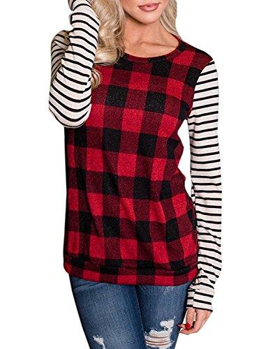Cute Plaid Shirts (Womens Tops Long Sleeve T Shirt Women Buffalo Plaid Tunic Crewneck Sweatshirt Striped Shirts)