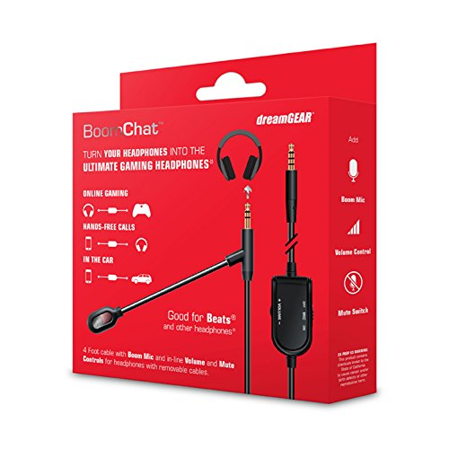 dreamGEAR BoomChat – Detachable Headphone Cable & Boom Mic Convert Premium Headphones into a Gaming Headset