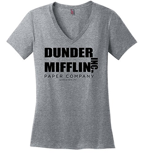 Comical Shirt Ladies Dunder Mifflin Paper Company Funny TV Show Sport Grey S (Ladies Shirt Show)