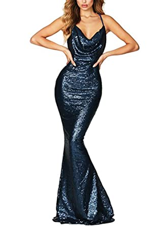 08282e48406cb made2envy Drape Cowl Neckline Open Back Sequined Gown (M, Blue) LC610559MBL  at Amazon Women's Clothing store: