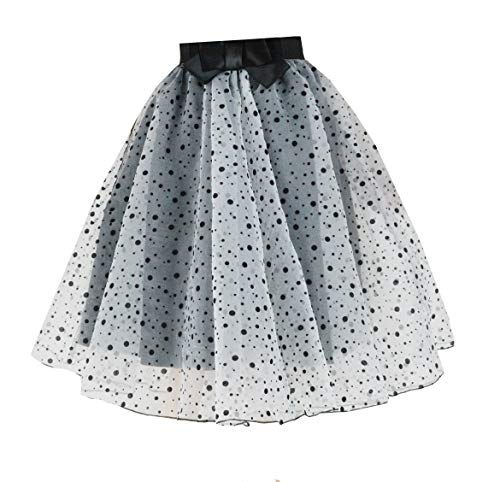 YSJERA Lady's Organza Princess Skirt Bowknot A Line Pleated Midi/Knee Length Tutu Party Skirts (XL,Small Dot)