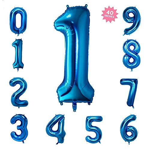 40 Inch Blue Jumbo Digital Number Balloons Huge Giant Balloons Foil Mylar Balloons for Birthday Party,Wedding, Bridal Shower Engagement Photo Shoot, Anniversary (Number 1 Blue -