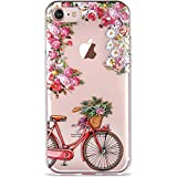 LUMARKE iPhone 7 Case,iPhone 8 Clear Case with Design for Girls Women,Soft Rubber Silicone Cover Protective Phone Case for iPhone 7/iPhone 8 4.7 inch Cute Floral and Bicycle