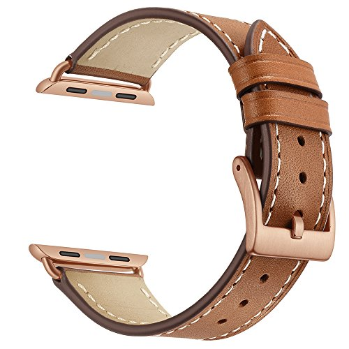 Apple Watch Band Leather Replacement Watch Strap with Stainless Metal Buckle Clasp iwatch series 1 2 3 Replacement strap (42mm, Brown Band+Rose Gold Buckle) Band Leather Belt Buckle