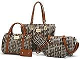 Women Shoulder Handbag for Work Purse 6 Piece Set Bag (Brown-1)