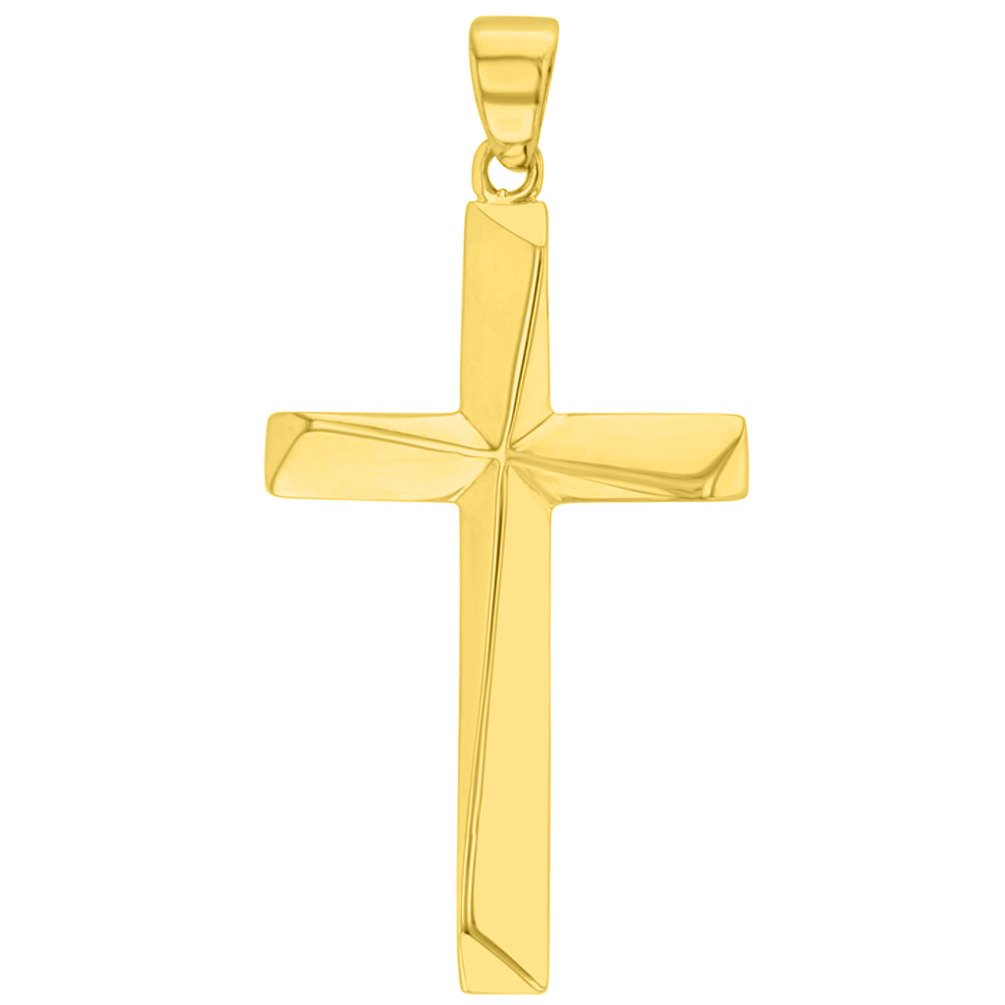 Solid 14K Yellow Gold Elegant Religious Plain Cross Pendant with Figaro Chain Necklace, 20'' by JewelryAmerica (Image #2)