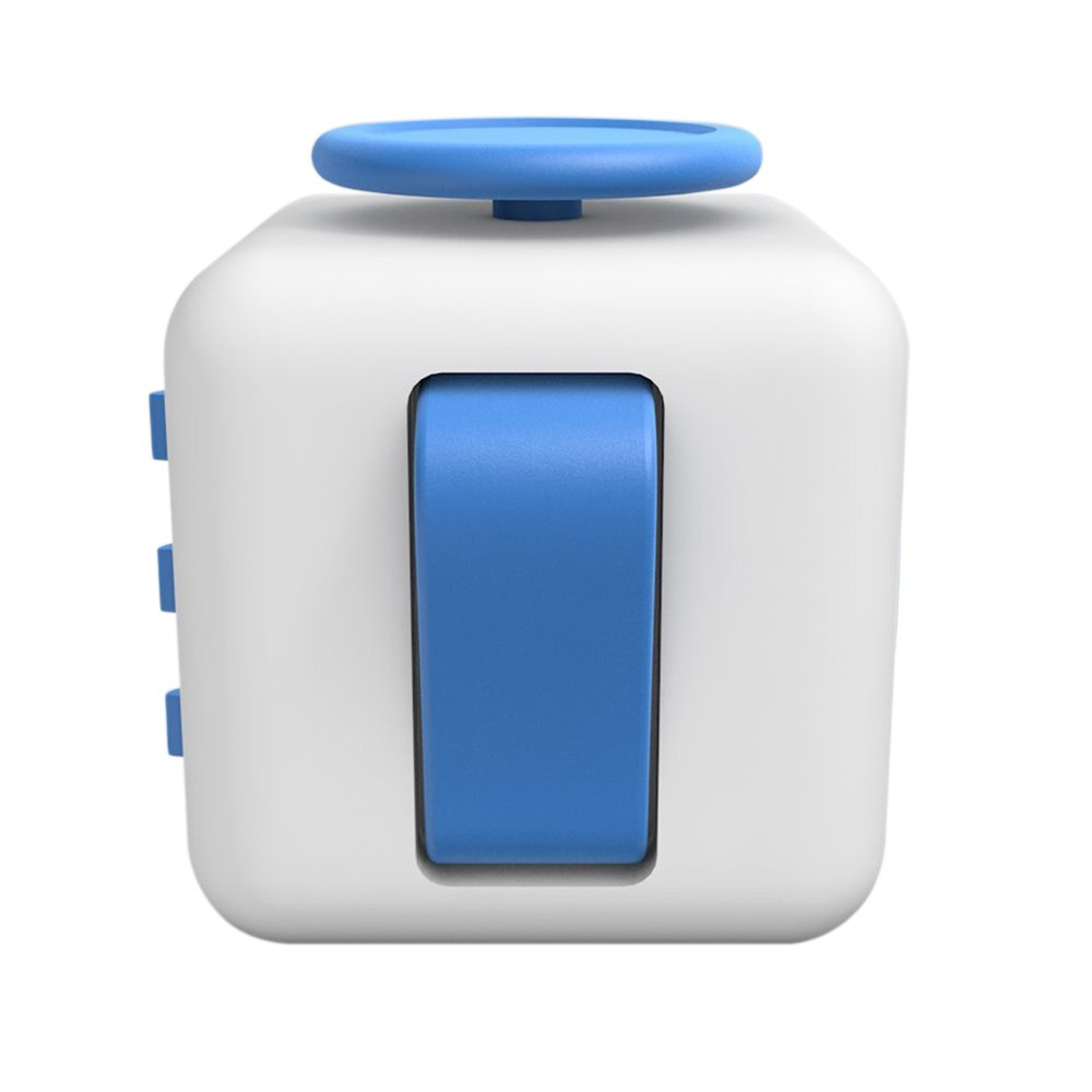 Lodabodkin Fidget Cube Relieves Stress and Anxiety for Children and Adults, Anxiety Attention Toy (White-blue)