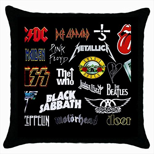 Rock And Roll Band Throw Pillow Case (Black)