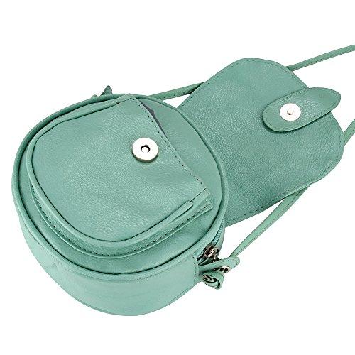 de bolso mujeres del Verde Dxlta cuero hombro Crossbody Bolso del retro mini del totalizador x4ZwvP
