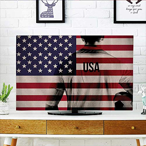 L-QN Protect Your TV Composite Double Exposure of Soccer Player and American Flag Natial USA Protect Your TV W35 x H55 INCH/TV 60