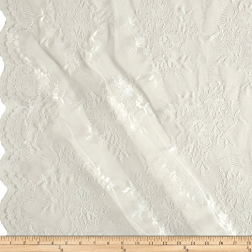 Ben Textiles Chantilly Lace Double Border Ivory Fabric by The Yard