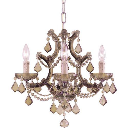 Crystorama 4474-AB-GTS Crystal Accents Four Light Mini Chandeliers from Maria Theresa collection in Brass-Antiquefinish,