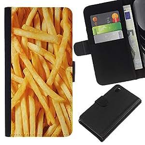 Stuss Case / Funda Carcasa PU de Cuero - Junk Food Fast Amarillo - Sony Xperia Z3 D6603