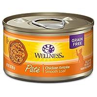 Wellness Comida de gato enlatada húmeda, de grano natural, Paté de pollo, Lata de 3 onzas (paquete de 24)