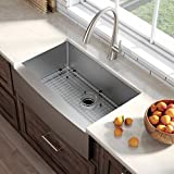 Kraus KHF200-33 33-inch Farmhouse Apron Single Bowl 16-gauge Stainless Steel Kitchen Sink