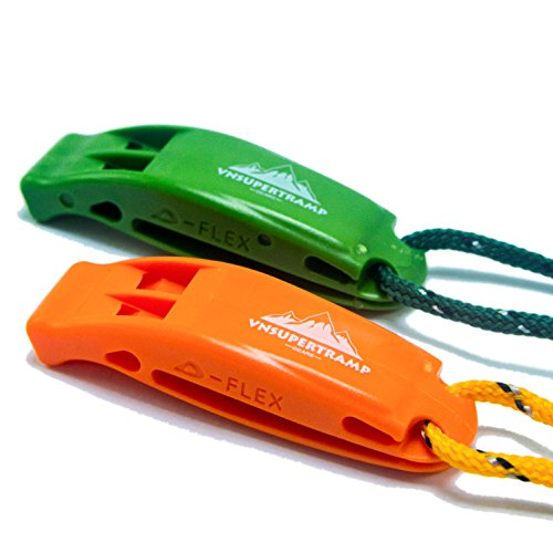 VnSupertramp Emergency Whistle Survival (2 Pack) with Long Lanyard 18 Inches and Large Clip - Premium ABS Plastic Super Loud for Boating Kayaking Diving Marine Camping Hiking - Portable and Compact