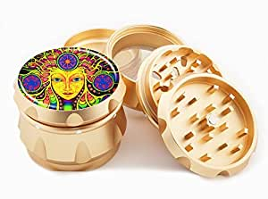 "Face Art Design Premium Grade Aluminum Tobacco,Herb Grinder -4Pcs Large (2.5"" Gold) # GLD-110514-0013"