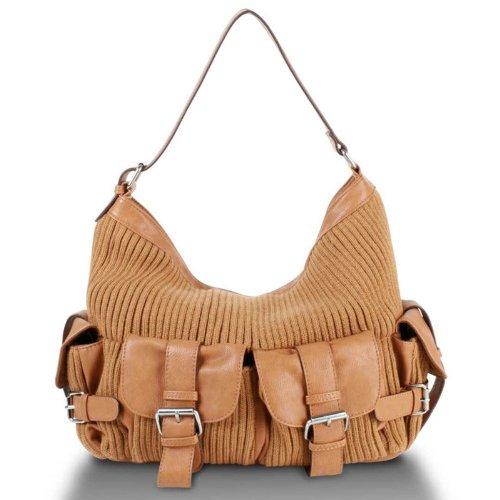 Melie Bianco Knit Mix Rita Hobo (Tan), Bags Central