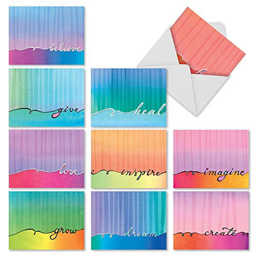 M3322 Love Lines: 10 Assorted Blank All-Occasion Note Cards Feature Soft Watercolor Washes and Flowing Calligraphy, w/White Envelopes.