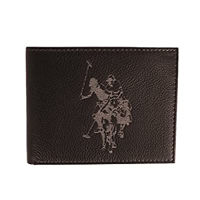 U.S. Polo Assn. Men's Hunter Drill Leather Wallet, Bifold Passcase, brown, onesize