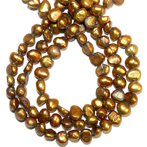 Bead Jewelry Making Gold Bronz 4mm - 5mm Baroque Cultured Freshwater Potato Pearl Beads 15