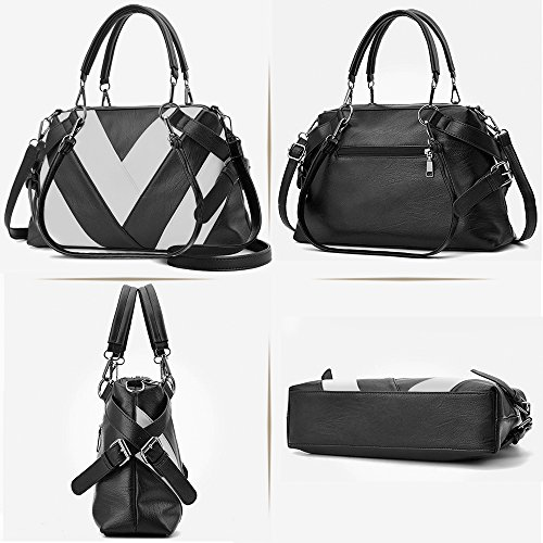 sac Noir main bandoulieres sac noir a BestoU grand femmes sac cuir femme fourre a PU main tout nqfASXBS