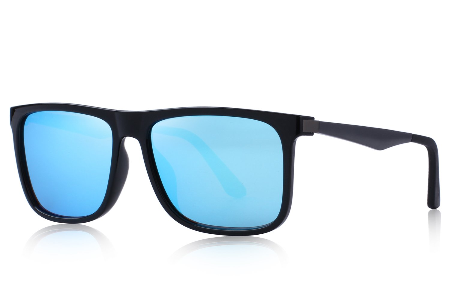 MERRY'S Polarized Square Sunglasses for men Aluminum Legs 100% UV Protection S8250 (Blue, 56) by MERRY'S