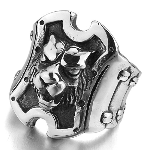 MoAndy Jewelry Mens Stainless Steel Rings Silver Black Lion Tiger Shield Punk Rock Biker Size 12 from MoAndy