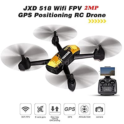 AICase JXD 518 RC Quadcopter 720P HD Camera WIFI FPV GPS Mining Point Drone 2.4GHz 6 Axis Gyro Mini Drone 360°Rotation Headless Mode + 3 Batteries from AICase