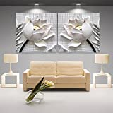 modern 3D white lotus definition pictures canvas Home Decoration living room Wall modular painting Print cuadros(no frame)2pcs (Size:60cmX60cmX2pcs)