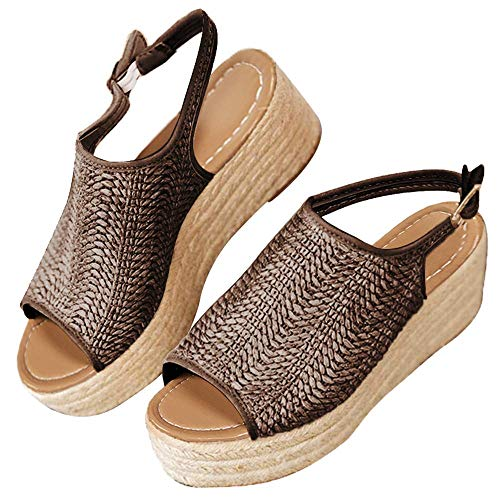 Woven Slingback Wedges - Womens Wedge Sandals Espadrilles Platform Heeled Sandles Open Toe Fashion Summer Cute Braided Shoes for Girls Brown 9.5 B (M) US