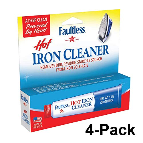Faultless Hot Iron Cleaner, Non-Toxic Steam Iron Cleaner, Removes Melted Fabrics, Glue, Hard Water, Lime Deposits & Starch (1 oz) (4 Pack)