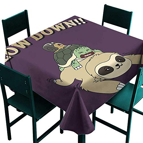 (Warm Family Sloth Polyester Tablecloth Funny Cartoon Scenery with Sloth Turtle Snail on Top of Each Other Slow Down Phrase Great for Buffet Table W70 x L70)