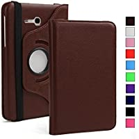 "TEZK® for Samsung Galaxy Tab J Max / Tab A 7.0"" 7-Inch Tablet SM-T280 / SM-T285 PU Leather Rotating Folio Flip Cover case (Brown)"