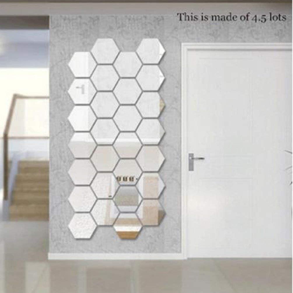 80x70x40 mm 70 Queenaal 80 Plata 40 mm 12 Piezas Marco Hexagonal Espejo estereosc/ópico Etiqueta de la Pared Decoraci/ón