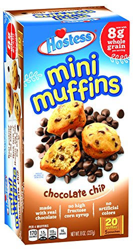- Hostess Mini Muffins, Chocolate Chip, 20 Count, 8 OZ (Pack of 6)