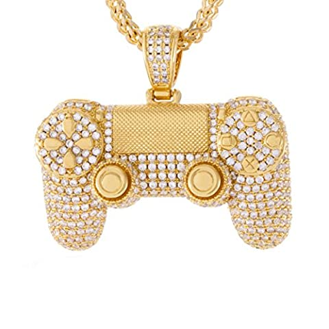King Ice - Game Controller Pendant Necklace gold (Ice Jewelry For Men)