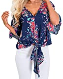 Nhicdns Women Floral Printed Tie Front V Neck Short Sleeve Tops Summer Blouses