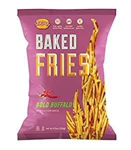 Snikiddy All Natural Baked Fries, Bold Buffalo, 4.5-Ounce Bags (Pack of 12)