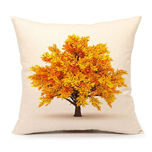 4TH Emotion Yellow Fall Tree Throw Pillow Case Cushion Cover for Sofa Couch 18 x 18 Inch Cotton Linen