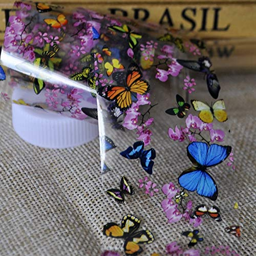 Butterfly Foil - Tempea Blue butterfly Pink flower petal chameleon laser glitter NAIL FOILS psychedelic retro rainbow tie dye holographic nail sticker 3d nail art tattoo decal manicure decoration acrylic nail vinyl