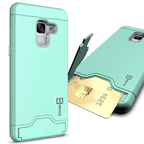 Galaxy A8 2018 Case, CoverON SecureCard Series Protective Phone Cover with Credit Card Holder Slot and Kickstand for Samsung Galaxy A8 2018 - Mint Teal ()