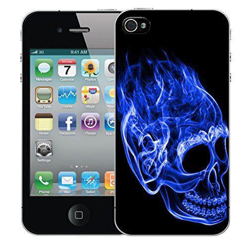 Mobile Case Mate iPhone 4s Silicone Coque couverture case cover Pare-chocs + STYLET - Inferno Skull Blue pattern (SILICON)