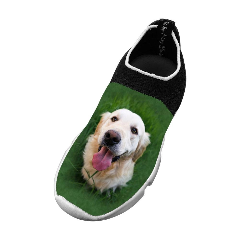 Owow Shoe Sports Shoes Happy Golden Retriever Slip-On Fly Knit Lightweight For Children Breathable Printing Sneakers 1 B(M) Us Big Kid