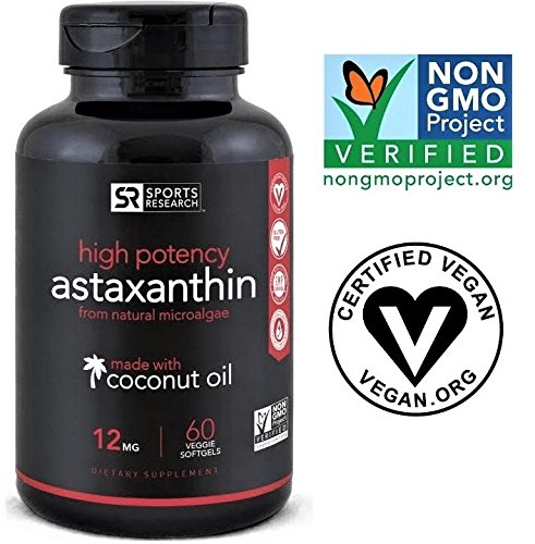 Astaxanthin (12mg) with Organic Coconut Oil; Non-Gmo Verified and Vegan Friendly| Powerful Antioxidant Naturally Supporting Joint, Skin, Eye Health - 60 Veggie Softgels